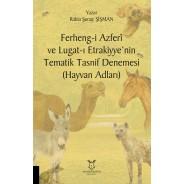 Ferheng-i Azferî ve Lugat-ı Etrakiyye'nin Tematik Tasnif Denemesi (Hayvan Adları)